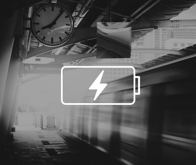 Icône de l'emblème de l'alimentation de la batterie graphique de la bannière