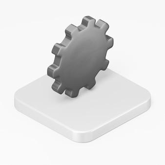 Icône d'engrenage noir dans l'élément d'interface de rendu 3d ui ux
