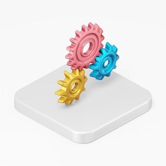Icône d'engrenages multicolores dans l'élément d'interface de rendu 3d ui ux