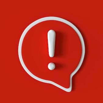 Icône d'exclamation avec effet 3d signe de bulle de dialogue rouge et blanc avertissement marque d'attention