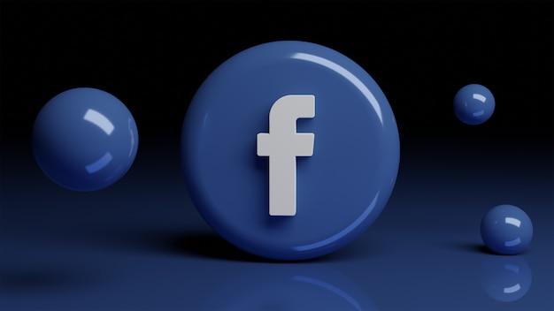 Icône facebook 3d sur le devant