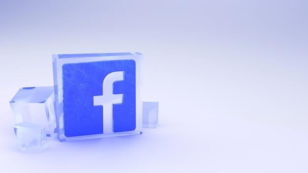 Icône facebook dans la glace sur un gris