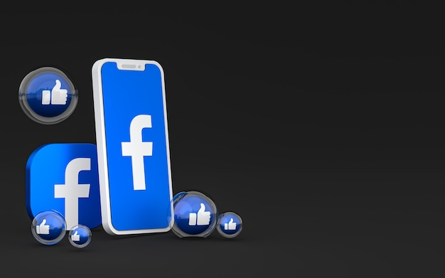 Icône facebook sur écran smartphone et réactions facebook amour, wow, comme emoji