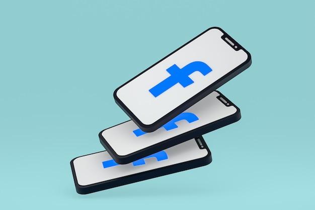 Icône facebook sur le rendu 3d du smartphone ou du téléphone portable à l'écran
