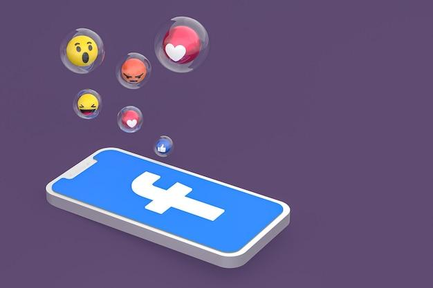 Icône facebook sur le rendu 3d du téléphone mobile à l'écran