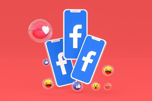 Icône facebook sur le rendu 3d des téléphones mobiles à l'écran