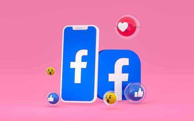 Icône facebook sur smartphone à l'écran et réactions facebook aiment, wow, comme emoji avec espace de copie