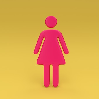 Icône féminine rose sur 3d jaune