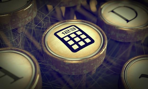 Icône de gestion sur le bouton de l'ancienne machine à écrire