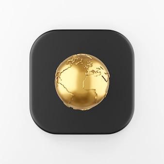 Icône de globe doré en style cartoon. touche de bouton carré noir de rendu 3d, élément d'interface ui ux.