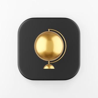 Icône de globe minimaliste doré en style cartoon. touche de bouton carré noir de rendu 3d, élément d'interface ui ux.