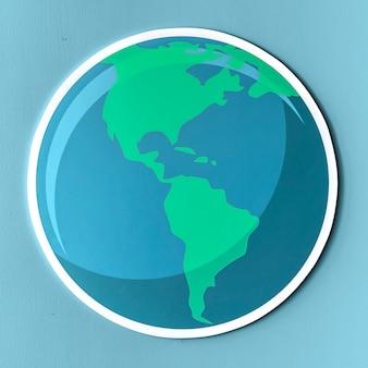 Icône de globe de papier découpé