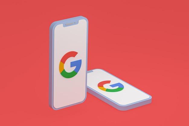 Icône google sur le rendu 3d du smartphone ou du téléphone portable à l'écran