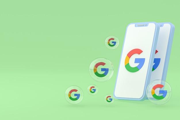 Icône google sur le rendu 3d des téléphones mobiles à l'écran