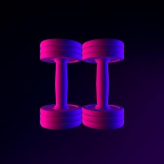 Icône d'haltère néon vue de dessus. élément ui ux de l'interface de rendu 3d. symbole lumineux sombre.