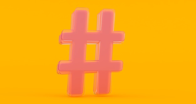 Icône de hashtag verre brillant volumétrique isolé sur fond orange.