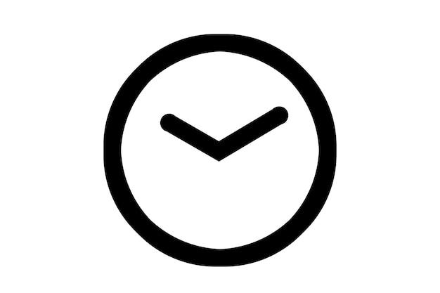 Icône de l'horloge, 10 heures, 10 minutes sur fond blanc.