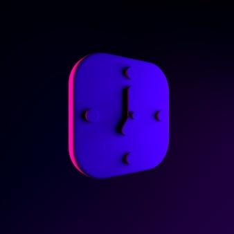Icône d'horloge carrée murale néon. élément d'interface ui ux de rendu 3d. symbole lumineux sombre.