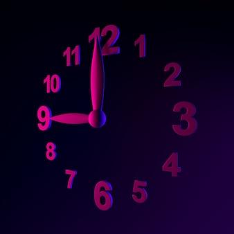 Icône d'horloge murale au néon. élément d'interface ui ux de rendu 3d. symbole lumineux sombre.