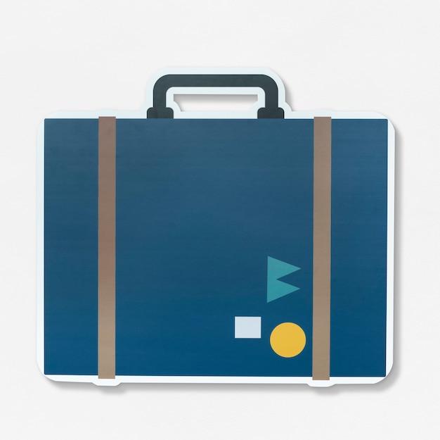 Icône d'illustration vintage valise itinérante
