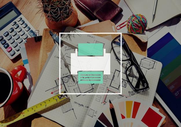 Icône imprimante page ordinateur concept papier numérique