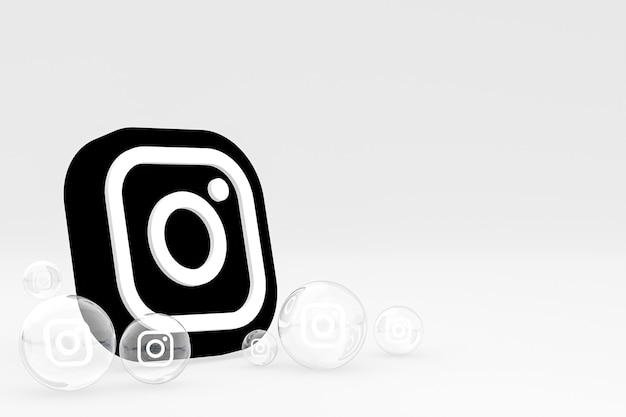 Icône instagram à l'écran du smartphone ou des réactions mobiles et instagram aiment le rendu 3d sur fond blanc