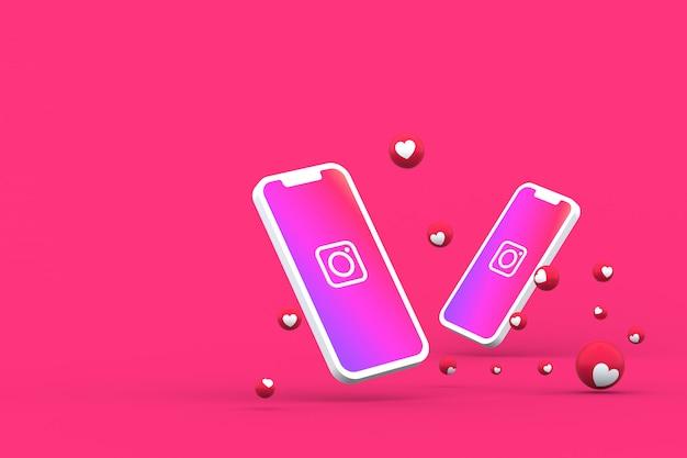 Icône instagram sur écran smartphone ou mobile et réactions instagram aiment le rendu 3d