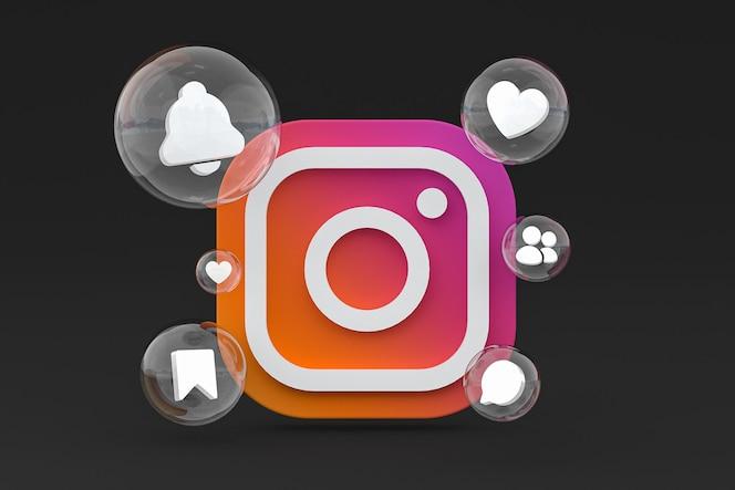 Icône instagram sur le rendu 3d du smartphone ou du téléphone portable à l'écran