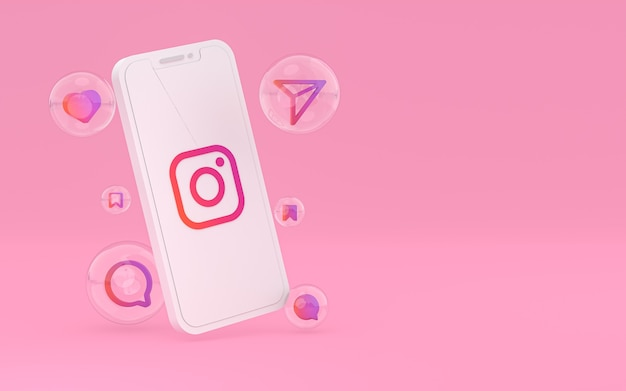 Icône instagram sur le rendu 3d du téléphone mobile à l'écran