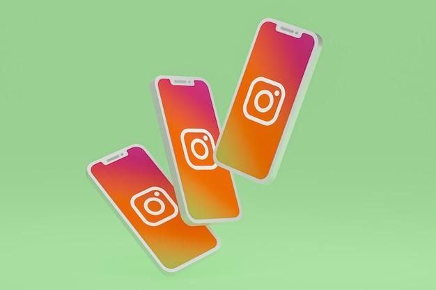 Icône d'instagram sur le rendu 3d d'un smartphone ou d'un téléphone portable à l'écran