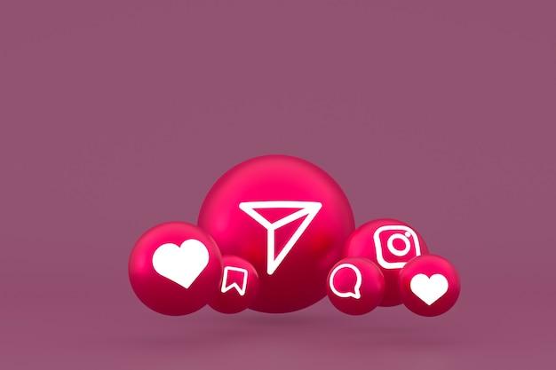 Icône instagram sur rouge