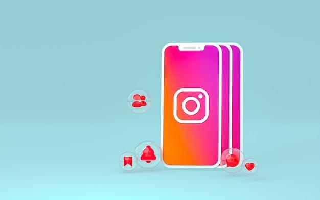 Icône instagram sur smartphone écran ou mobile et réactions instagram aiment le rendu 3d