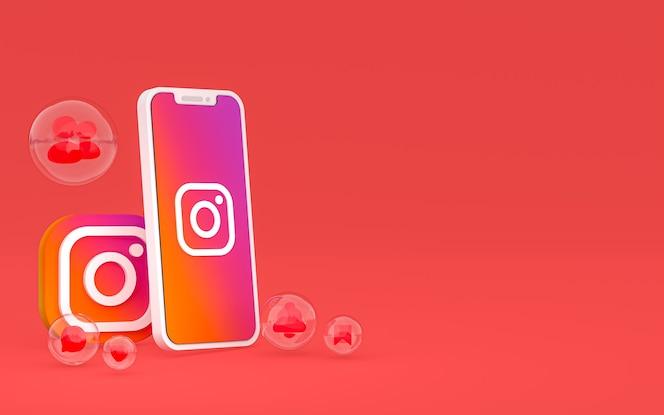 Icône d'instagram sur le smartphone d'écran ou les réactions mobiles et instagram aiment rendre