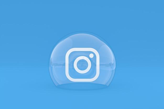 L'icône instagram sur le smartphone à l'écran ou les réactions mobiles et instagram aiment le rendu 3d sur fond bleu