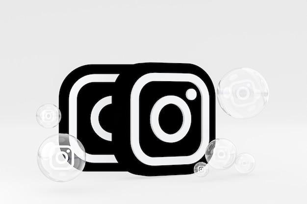L'icône instagram sur le smartphone à l'écran ou les réactions mobiles et instagram aiment le rendu 3d sur fond gris