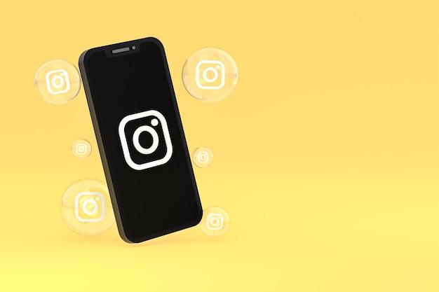 L'icône instagram sur le smartphone à l'écran ou les réactions mobiles et instagram aiment le rendu 3d sur fond jaune