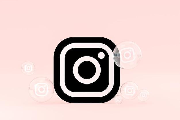 L'icône instagram sur le smartphone à l'écran ou les réactions mobiles et instagram aiment le rendu 3d sur fond rose