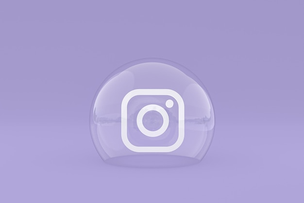 L'icône Instagram Sur Le Smartphone à L'écran Ou Les Réactions Mobiles Et Instagram Aiment Le Rendu 3d Sur Fond Violet Photo Premium