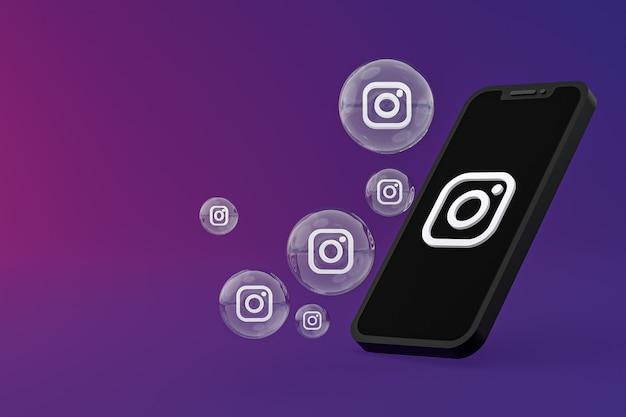 L'icône instagram sur le smartphone à l'écran ou les réactions mobiles et instagram aiment le rendu 3d sur fond violet