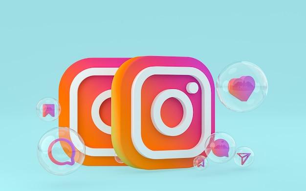 L'icône instagram sur le smartphone à l'écran ou les réactions mobiles et instagram aiment le rendu 3d