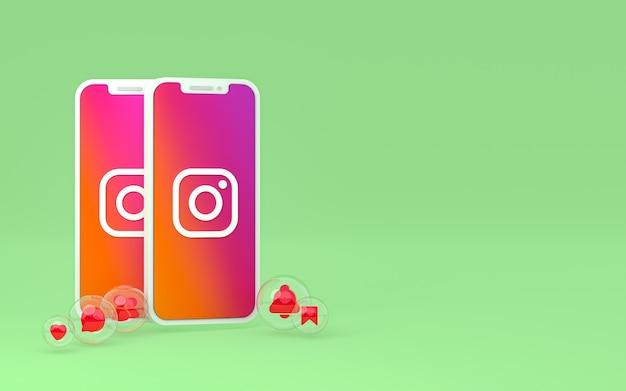L'icône Instagram Sur Le Smartphone à L'écran Ou Les Réactions Mobiles Et Instagram Aiment Le Rendu 3d Photo Premium