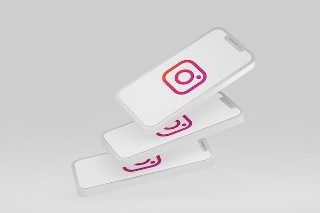 Icône instagram sur les téléphones mobiles à l'écran rendu 3d