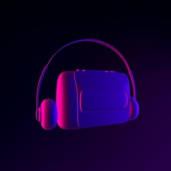 Icône de lecteur de cassettes audio vintage au néon. élément d'interface ui ux de rendu 3d. symbole lumineux sombre.