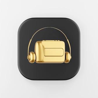 Icône de lecteur de cassettes audio vintage doré. touche de bouton carré noir de rendu 3d, élément d'interface ui ux.