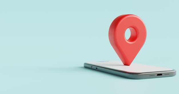 Icône de localisation 3d sur le concept de localisation de smartphone