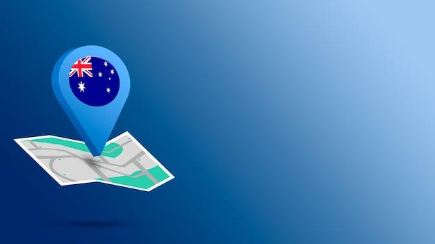 Icône de localisation avec le drapeau de l'australie sur la carte de rendu 3d
