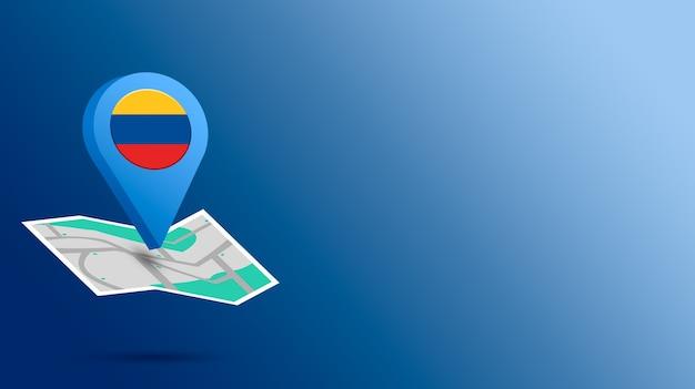 Icône de localisation avec le drapeau de la colombie sur la carte de rendu 3d