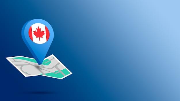 Icône de localisation avec le drapeau du canada sur la carte de rendu 3d
