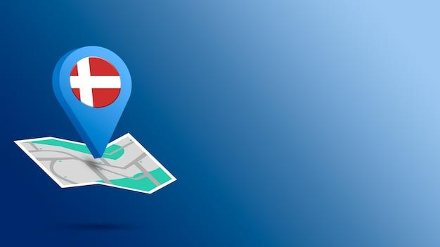 Icône de localisation avec le drapeau du danemark sur la carte de rendu 3d