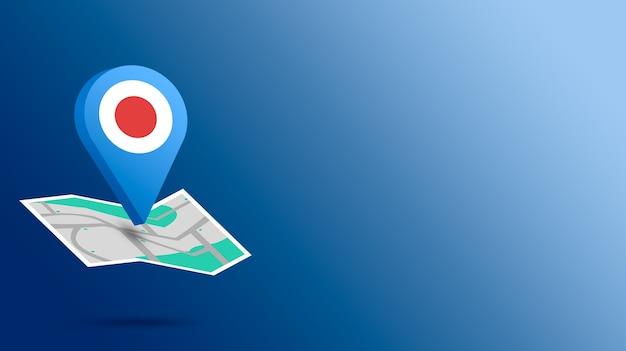 Icône de localisation avec le drapeau du japon sur la carte de rendu 3d